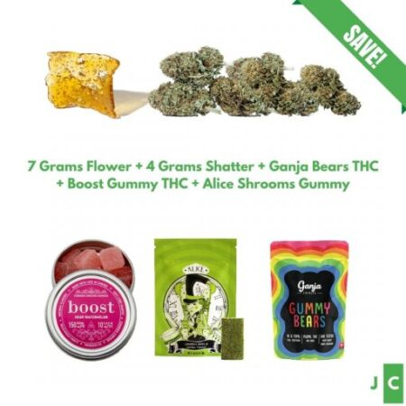 7 Grams Flower + 3 Gummy Packs + 4 Grams Shatter Bundle #3
