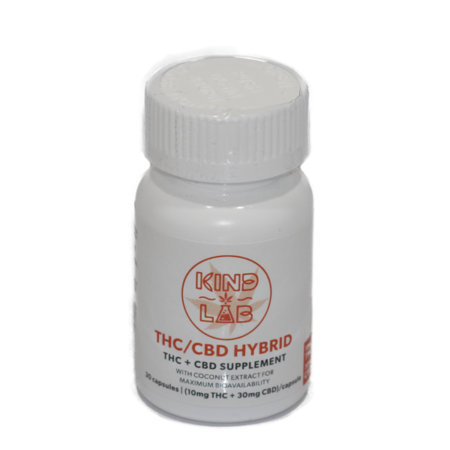 THC:CBD Oil capsules by Kind Labs. Made with Coconut Extract for maximum bioavailability. Each capsule contains 10mg of THC and 30mg of CBD. 30 caps per bottle.